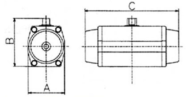Габаритные размеры привода двойного действия DE