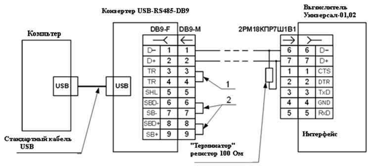 конвертера USB-RS485-DB9 к