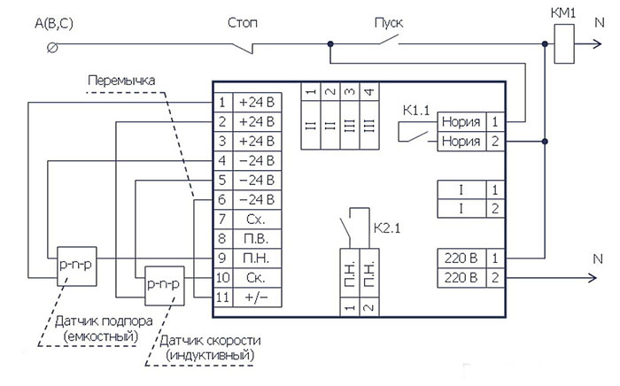 схема подключения устройства УТКС-1М-111