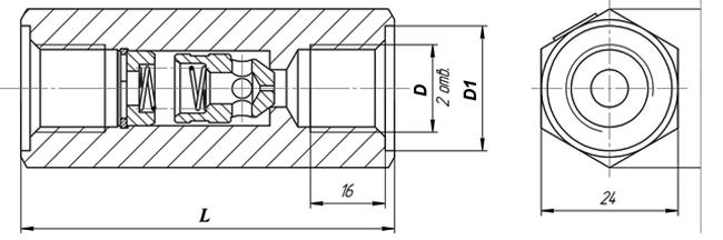 Габаритные размеры клапана КЛ 8.3-М2