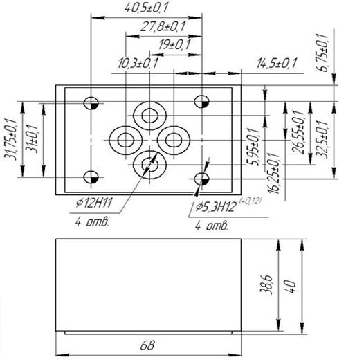 Габаритные и установочные размеры клапана КОМ 6.3 Р
