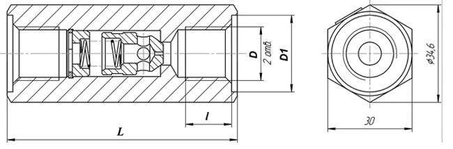 Габаритыне размеры клапана КЛ10.3-M2