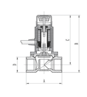 Схема габаритных размеров Клапана КЭМГ